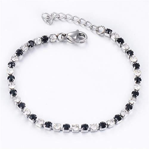 JIEERCUN Pulsera de Acero Inoxidable para Mujer, Joyería de Moda, Pulsera Decorativa de Las señoras brazaletes (Color : Black, Size : 18 cm)