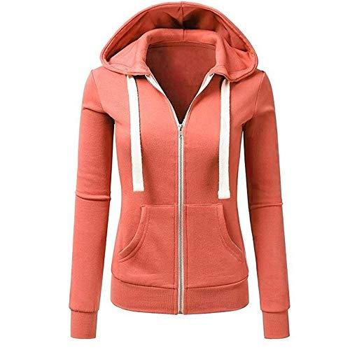 iHENGH Damen Herbst Winter Bequem Mantel Lässig Mode Jacke Frauen Langarm Patchwork einfarbig mit Kapuze reißverschluss Casual Sport Mantel(Orange, XL)