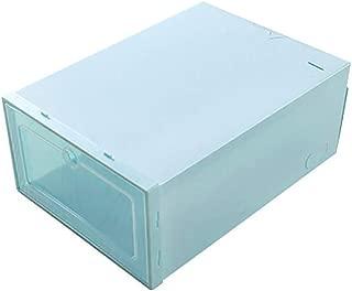 Fan-Ling 3PC Transparent Storage Shoe Box,Foldable Clear Shoes Storage Box,Plastic Stackable Shoe Organizer,Eco-Friendly Modern Style (Blue)