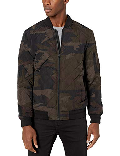 Calvin Klein Men's Quilted Bomber Jacket, Olive Camo, Small