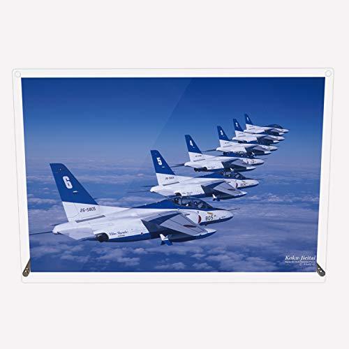 CuVery アクリル プレート 写真 航空自衛隊 ブルーインパルス T-4 編隊飛行 デザイン スタンド 壁掛け 両用 約A3サイズ