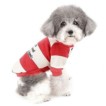 ZUNEA Vetement pour Petit Chien Manteau Hiver Pull-Overs Sweat-Shirt en Coton Doux Rembourré Chiot Chihuahua Yorkshire Veste Costume pour Chiens Filles Garçons Rouge M