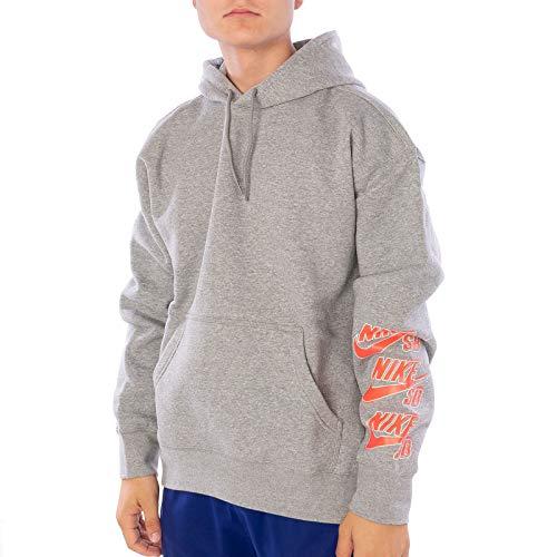 Nike Felpa Cappuccio Uomo SB ICON Triple Stack Hoodie Dark Grey Heather Bright