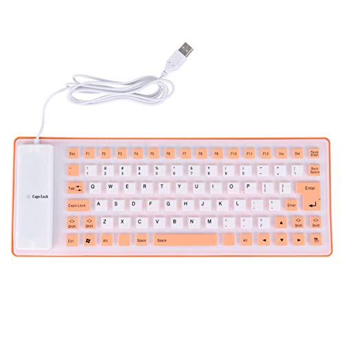 OSALADI 85 tasti Roll Up tastiera in silicone resistente all'acqua Tastiera con cavo USB, ultra sottile e silenziosa per computer portatile, colore: Nero arancione arancione 34X13X1CM