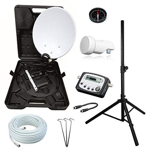 netshop 25 Camping SAT Koffer Schüssel mit HD Single LNB und 10m Kabel + Digital SAT-Finder + Dreibein Stativ bis 150cm (Mobile Sat Anlage 1 Teilnehmer) Set