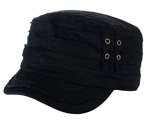 D&Y Unisex Cotton Distressed Layered Frayed Cadet Military Cap, Black