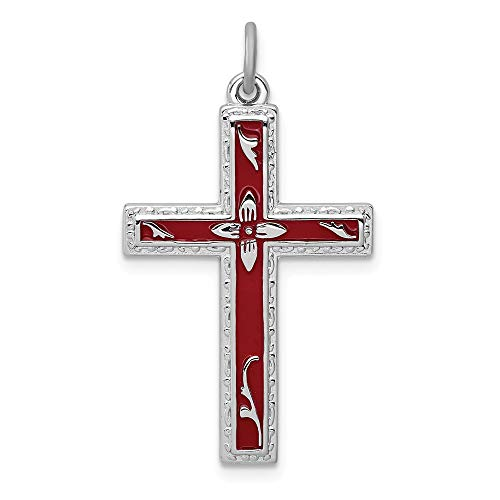 925 Sterling Silver Red Enameled Cross Religious Pendant Charm Necklace Latin Fine Jewellery For Women Mothers Day Gifts For Her