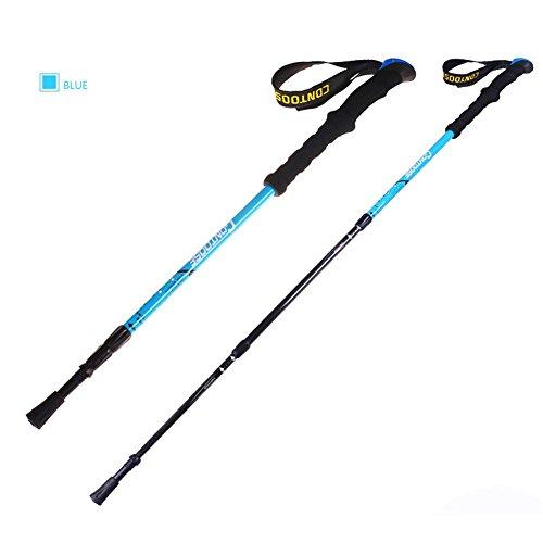 Lmzyan Gilet de randonnée en fibre de carbone extérieur, hauteur réglable 65-135cm Poignée droite Poteaux de marche , Blue