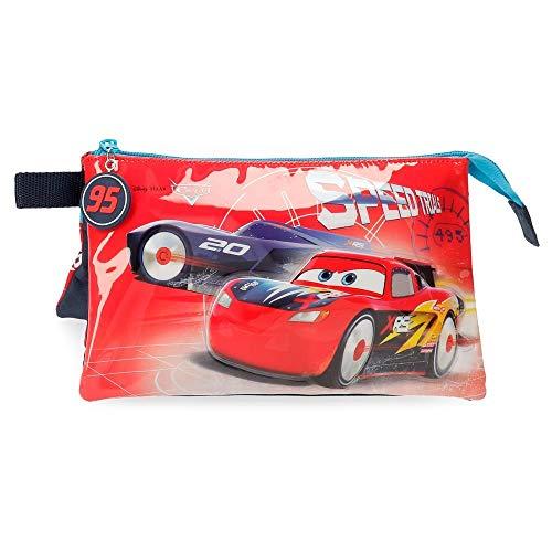 Disney Cars Speed Trails Estuche Tres Compartimentos, Rojo