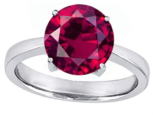 Star K Large Solitaire Big Stone Ring with 10mm Round Created Ruby Sterling Silver Size 6