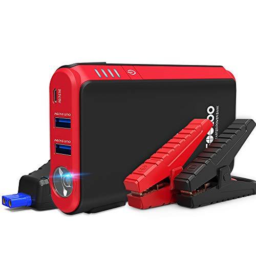 Arrancador de Coches, GOOLOO de 800A (Hasta 4.5L Gasolina) 12V, Refuerzo de Batería Automático, Batería Portátil con QC 3.0 y linterna LED (negro)