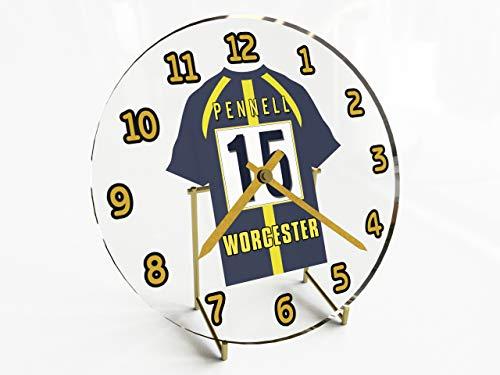 MyShirt123 Aviva Premiership Rugby Unione Attrezzatura di RFC Orologio da scrivania–Qualsiasi Nome, Qualsiasi Numero, Qualsiasi Attrezzatura, Uomo Bebè-Bambini Donna, Worcester Warriors Rugby