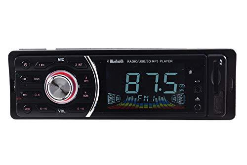 1208,Autoradio stereo, Bluetooth, mascherina rimovibile, radio FM, MP3, SD, USB, AUX