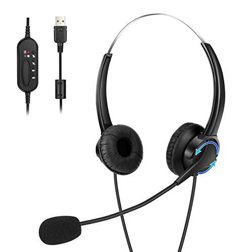 Cuffie USB, Cuffie per PC con cancellazione del rumore, Cuffie con fascia da 2 M Cuffie per servizio clienti con microfono per Call Center, Chat chiara, Affari, Leggere, Duarabili