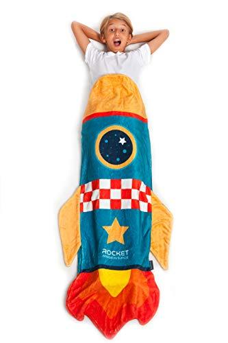 KANGURU Rocket Kids, soffice e Magica Coperta a Forma, può infilare Dentro con Tutti i Piedi. Lunga 142 cm, Adatta a Ragazzi Fino ai 14 Anni, Razzo Bambini, 100 unità