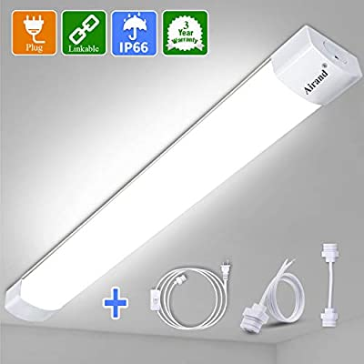 LED Shop Lights for Garage 4 Foot with Plug, Airand Linkable LED Tube Light 3600 LM Wall Under Cabinet Lighting, Waterproof 5000K LED Ceiling and Closet Light 36W, Corded Electric with ON/Off Switch