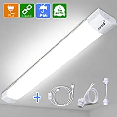 ☀SUPER BRIGHT - This led shop light fixture is more than 1800 lumens output, 18w led ceiling light fixture low power consumption, the led shop light save 85% on your electricity bill. Led tube light perfect for garage, under cabinet, warehouse, basem...