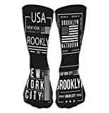 YudoHong Sport all'Aria Aperta Uomo Donna Calze Alte Set Calza New York City Brooklyn Tipografia Stampa Bandiera Americana Colore Bianco Set New Yo