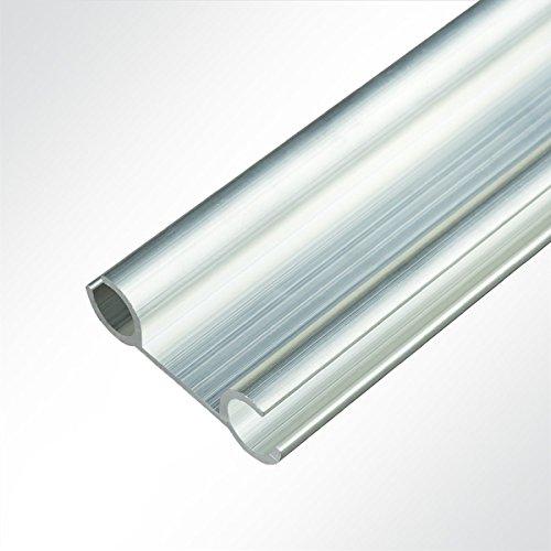 LYSEL® Doppelkederschiene 12x40mm blank 3m Grau Ø9mm für Keder 6-8mm