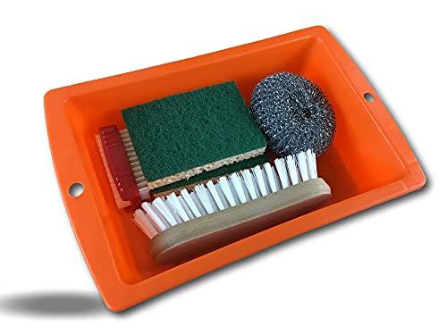 Kibros NETKIT7 - Juego de limpieza para el hogar (1 bandeja de 3 litros multiusos, 1 cepillo de uñas, 1 cepillo de doble cara