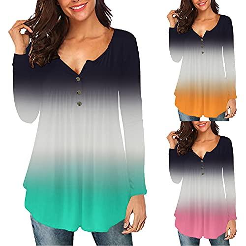NMSLCNM Blusa de manga larga degradada para mujer, cuello en V, rayas de color sólido/empalme suelto, moldeadora delgada, especial, talla grande, casual, con botones, sudadera con capucha para correr