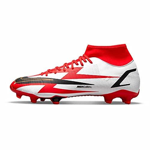 Nike Mercurial Superfly 8 Academy CR7 MG, Zapatillas de ftbol Unisex Adulto, Chile Red Black White Total Orange, 43 EU