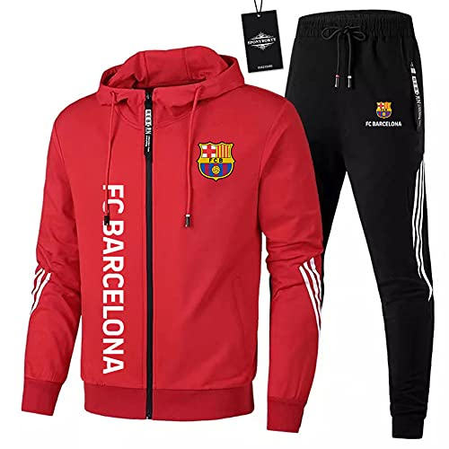 HUISEDIDAI de Los Hombres Chandal Conjunto Trotar Traje FC Hooded Zipper Chaqueta + Pantalones Deporte Sudadera Suéter de Los Hombres/red/M