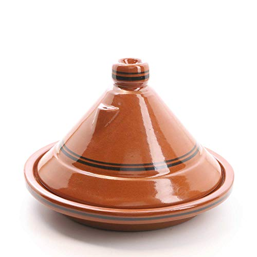 Casa Moro Marokkanische Tajine Terra Miel Ø 30 cm glasiert zum Kochen für 3 bis 4 Personen | Handmade Gartopf Tontopf aus Marrakesch | TA7043