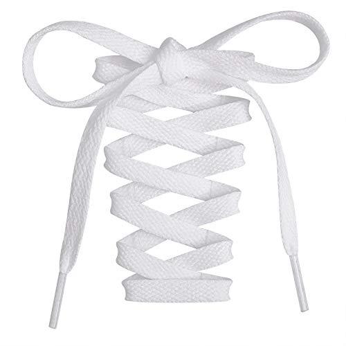 2 Paar- Flache Schnürsenkel, 8 mm Breite Premium Ersatz-Schnürsenkel für Turnschuhe, Sport-, Freizeitschuhe Weiß 120cm