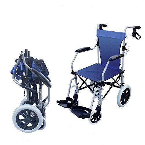 WLIXZ Zusammenklappbarer tragbarer Rollstuhl, Flugzeug-Reiserollstuhl, Stoßdämpfung, 5-Gang-Höhenverstellung,2