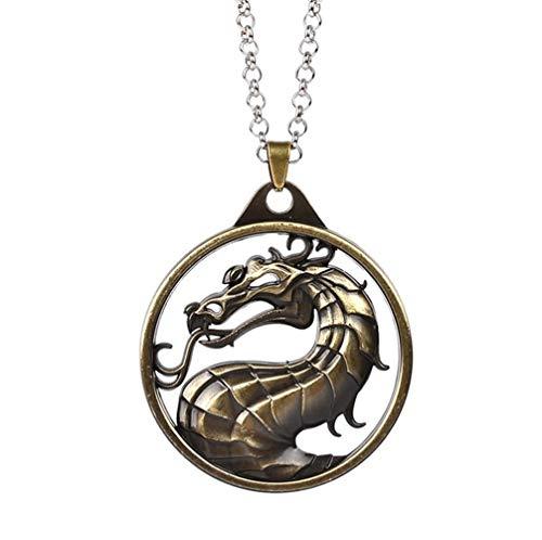 Llavero del Encanto De La Vendimia del Tótem del Dragón Anillo De Aleación Sostenedor De La Llave del Coche Regalo For Los Hombres Accesorios Clave (Color : Bronze Necklace)