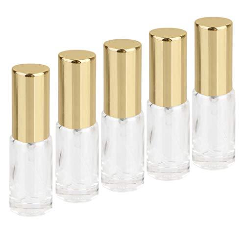 MagiDeal Lot de 5 Mini Flacon Pompe de Parfum Rechargeable Vide Bouteille de Pulvérisation en Verre 5ml