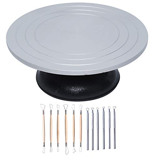 Heavy Duty All Metal Sculpting Wheel,12in Pottery Banding Wheel with 12PCS Pottery Tools Clay Sculpting Tool Set for Pottery Lovers, DIY Lovers