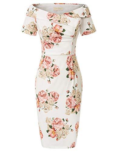 Belle Poque - Vestido elegante para mujer, estilo vintage de los años 50, con hombros descubiertos, estampado, vestido de tubo, para fiesta de graduación Floral-12(bp0117-12) 44