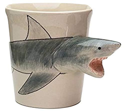 b2see Hai-Fisch Tasse Tier Tasse 3D Tasse Keramik Becher mit Tieren Tiermotiven 14 x 15 x 10 cm