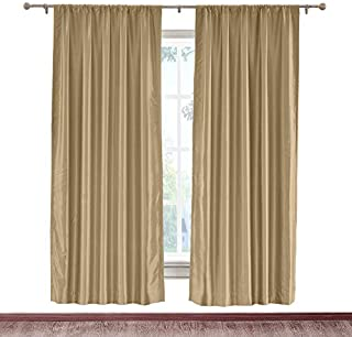 cololeaf Rod Pocket Faux Silk Curtains Drapery Panel For Traverse Rod Or Track, Living Room Bedroom Meetingroom Club Theater Patio Door, Taupe 52W x 84L Inch (1 panel)