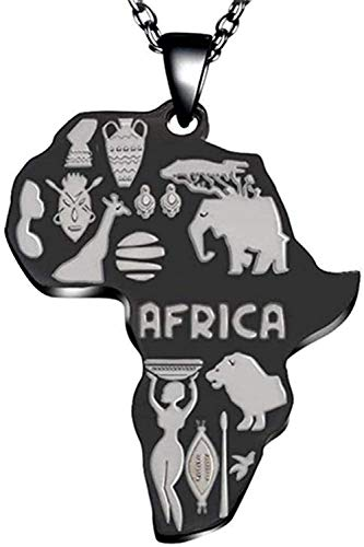 LKLFC Collar con Colgante de Mapa de África para Mujeres, Hombres, joyería etíope, Collar con Colgante, Regalo para Mujeres, Hombres, niñas, niños