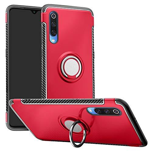 LFDZ Xiaomi Mi 9 Anillo Soporte Funda, 360 Grados Giratorio Ring Grip con Gel TPU Case Carcasa Fundas para Xiaomi Mi 9 Smartphone (Not fit Xiaomi Mi 9 Se),Rojo