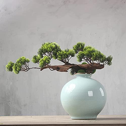 YUXINYAN Decorar 14 Pulgadas Planta de Potted Bonsai Artificial Bonsai, Simulación Bonsai Pine Green Plant, Plantas Falsas para la Pantalla de la Oficina de la Oficina. Adornos