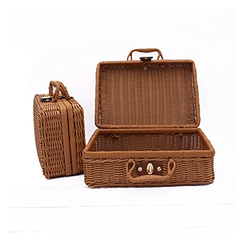 Cosmetic Storage Box Organize Retro Props Rattan Suitcase Custom-made Hand Gift Basket Storage Solid Pp Woven Rattan Box