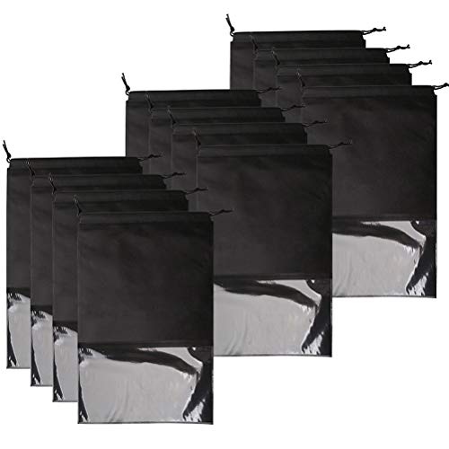 kuou 12Pcs Travel Shoe Bag, Large Portable Drawstring Shoes Storage Bags Pouch Organizer with Transparent Window (Black)