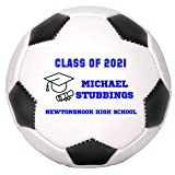 Personalized Custom Graduation 2021 Soccer Ball Gift - Graduation Class of 2021 - Graduation Gift for Boy - Graduation Gift for Girl (Mini Soccer Ball, Blue Text)