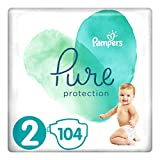Diapers Size 2, 104 Count - Pampers Pure Protection Disposable Baby Diapers, Hypoallergenic and Unscented Protection, Giant Pack (Old Version)