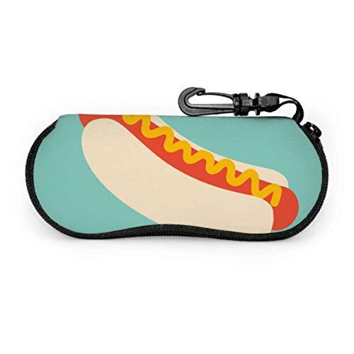 Estuche para gafas de gafas Delicioso Hot Dog American Fast Food Funda para gafas al aire libre Funda de neopreno con cremallera suave para gafas de sol