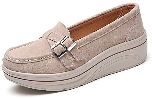 [Nomioce] ダイエットシューズ 船型底 ナースシューズ レディース ウォーキングシューズ 5CM 厚底スニーカー 姿勢矯正 看護師 軽量 歩きやすい 疲れない 婦人靴 厚底シューズ クリーム25.5cm