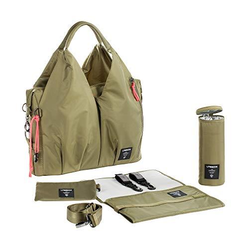 LÄSSIG Baby Wickeltasche nachhaltig inkl. Wickelzubehör nachhaltig produziert/Green Label Neckline Bag, Olive