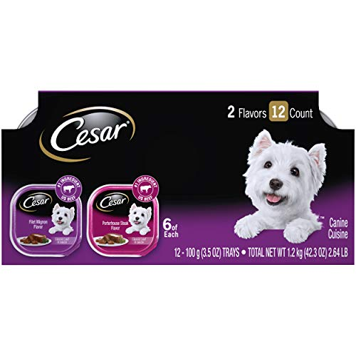CESAR Soft Wet Dog Food Classic Loaf in Sauce Filet Mignon and Porterhouse Steak Flavors Variety Pack, (24) 3.5 oz. Easy Peel Trays