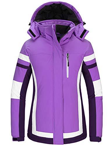 Wantdo Women's Winter Ski Jacket Fleece Snow Coat Windproof Rainwear Windbreaker Purple XL