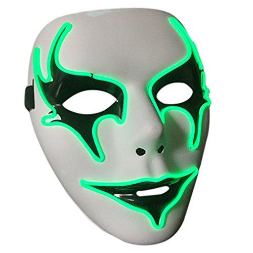 OUTGEEK Maschera di Halloween illumina maschera di mascheratura del fronte pieno Maschera di Guy Fawkes per le decorazioni del partito di Halloween di Cosplay (verde)