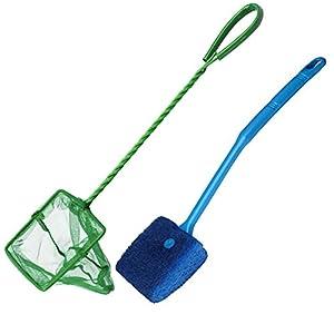 kuou 1Pcs Aquarium Fish Net Small Fish Catch Nets Fine Mesh(10cm*25cm) & 1Pcs Aquarium Fish Tank Cleaning Sponge Brush…